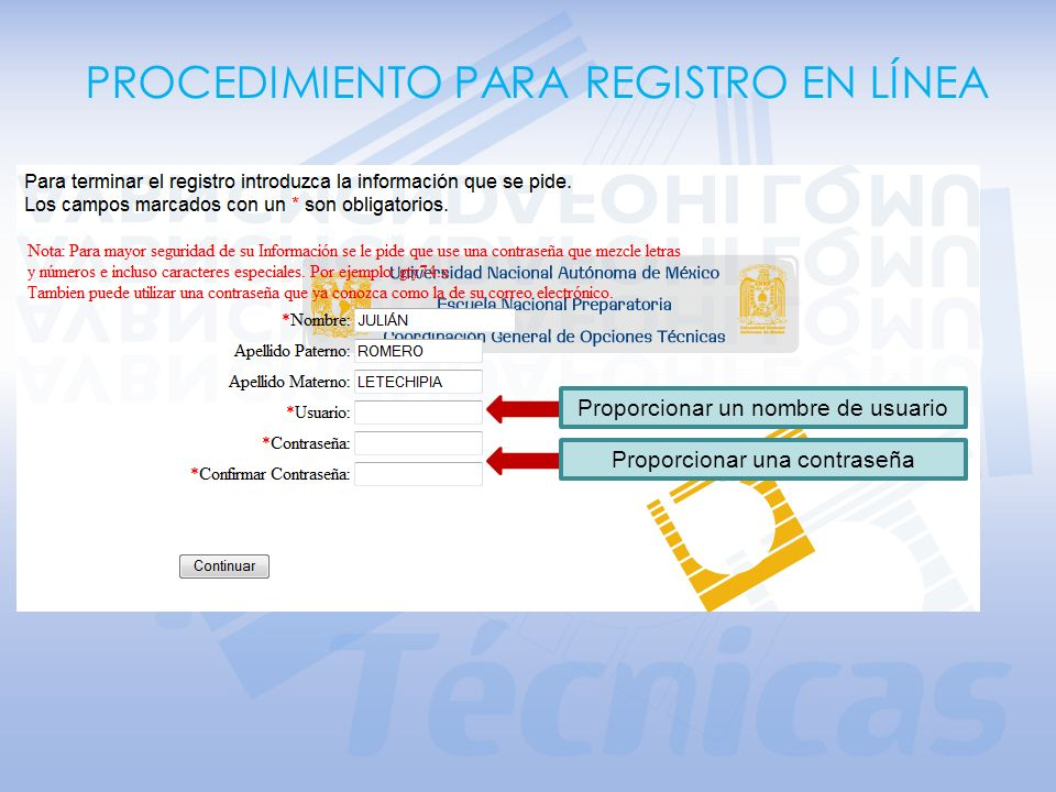 PROCEDIMIENTO PARA REGISTRO EN LÍNEA