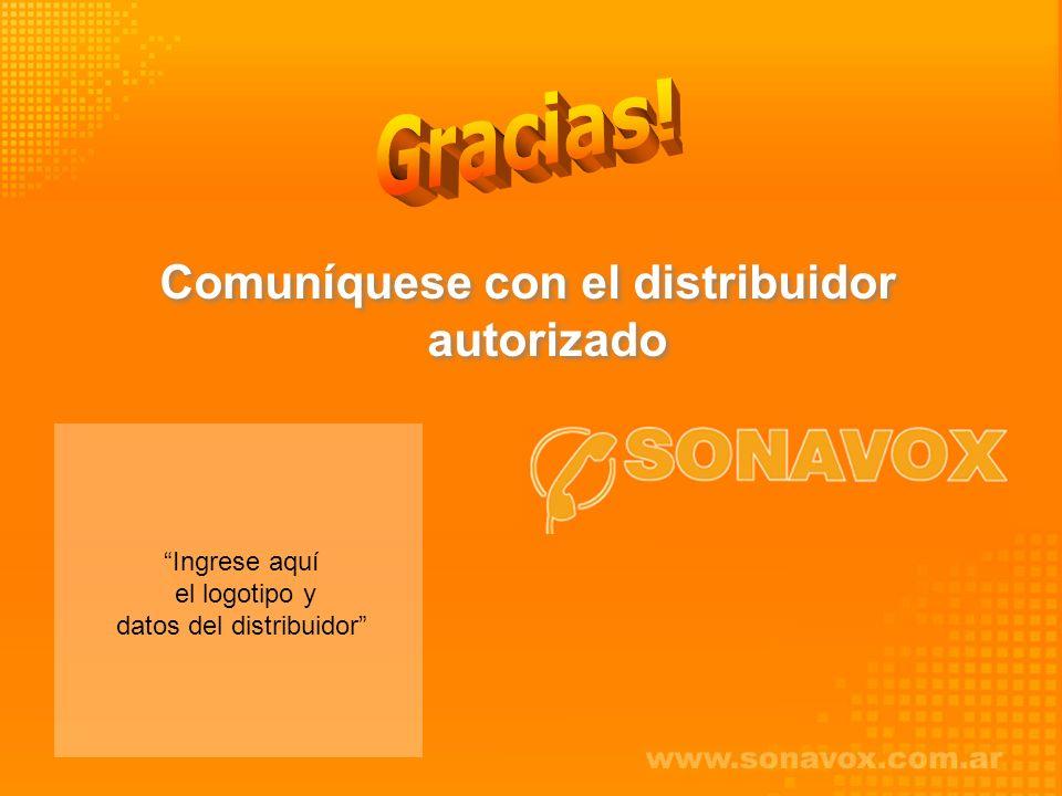 Comuníquese con el distribuidor autorizado