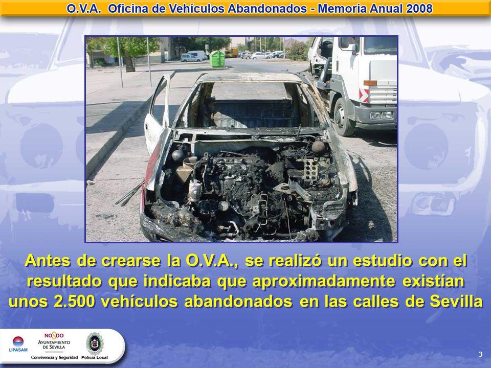 Antes de crearse la O.V.A., se realizó un estudio con el resultado que indicaba que aproximadamente existían unos 2.500 vehículos abandonados en las calles de Sevilla