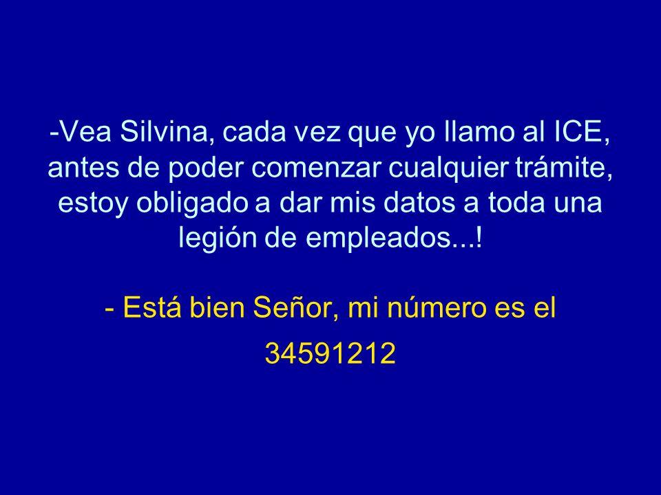 Vea Silvina, cada vez que yo llamo al ICE, antes de poder comenzar cualquier trámite, estoy obligado a dar mis datos a toda una legión de empleados....