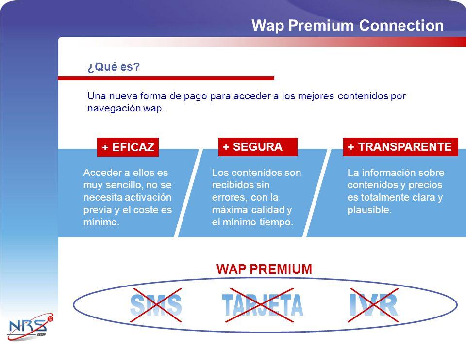 SMS TARJETA IVR Wap Premium Connection WAP PREMIUM ¿Qué es + EFICAZ