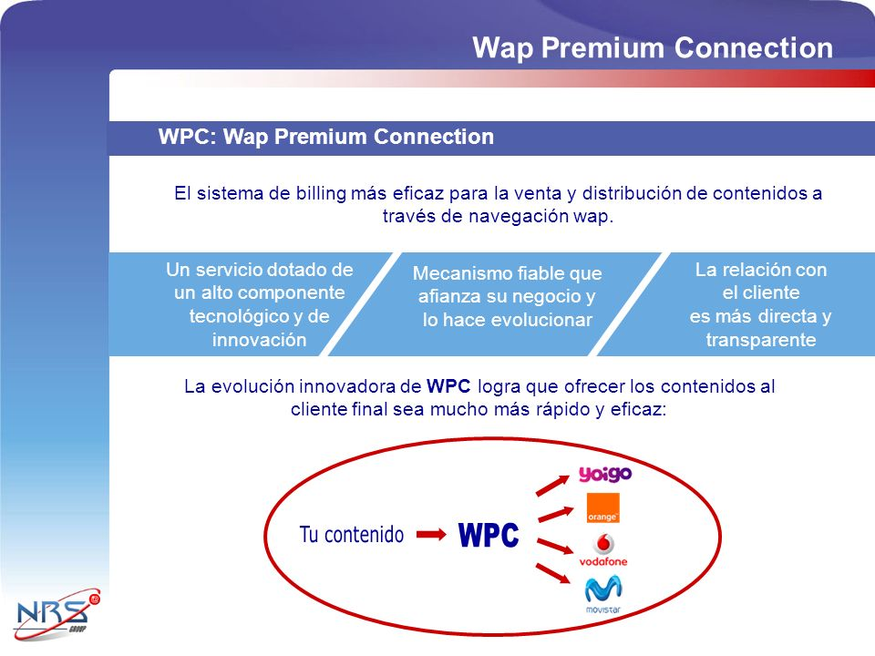 WPC Wap Premium Connection Tu contenido WPC: Wap Premium Connection