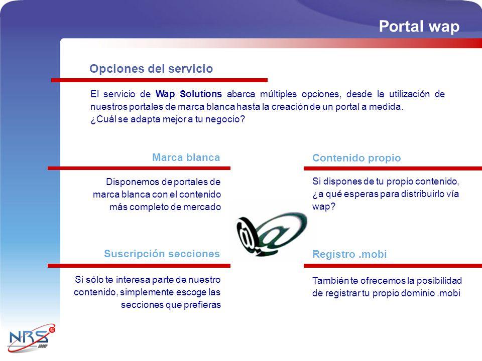 Portal wap Opciones del servicio Marca blanca Contenido propio