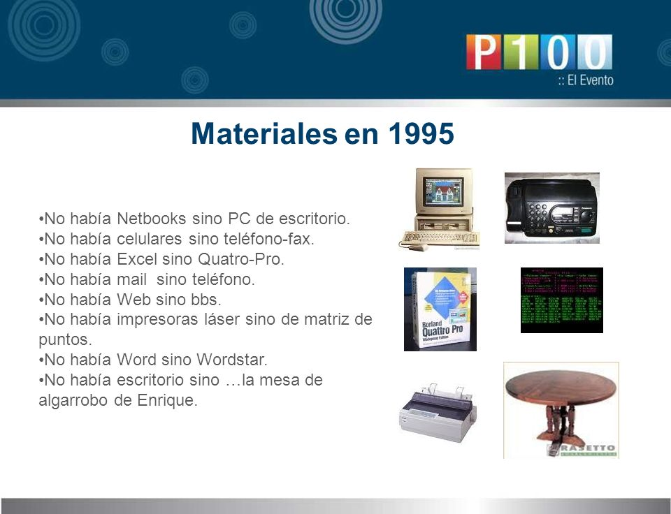 Materiales en 1995 No había Netbooks sino PC de escritorio.
