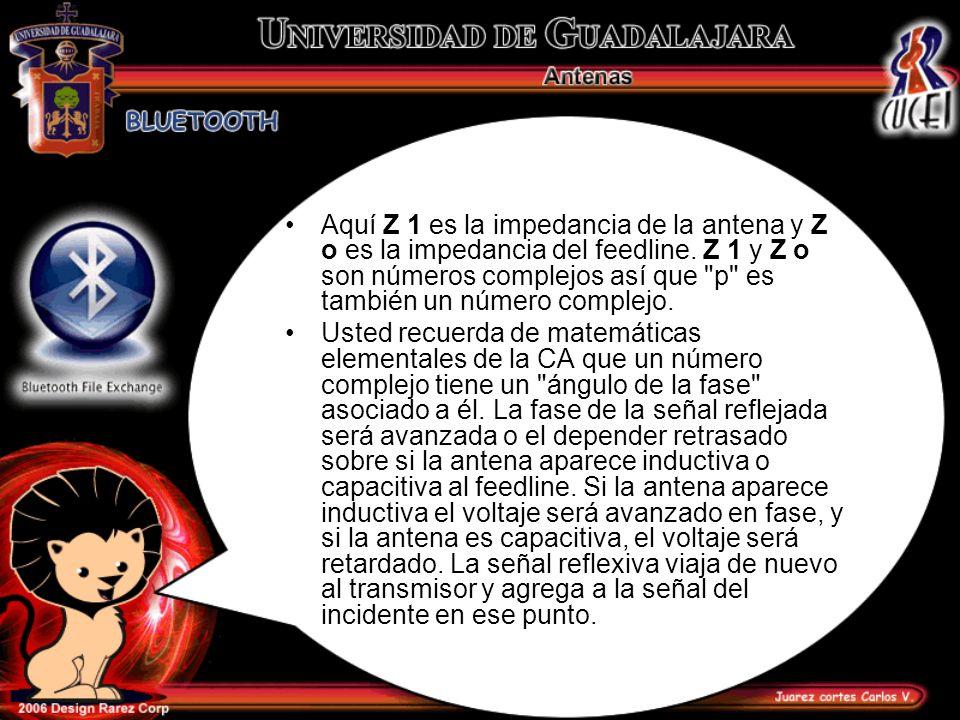 Aquí Z 1 es la impedancia de la antena y Z o es la impedancia del feedline. Z 1 y Z o son números complejos así que p es también un número complejo.
