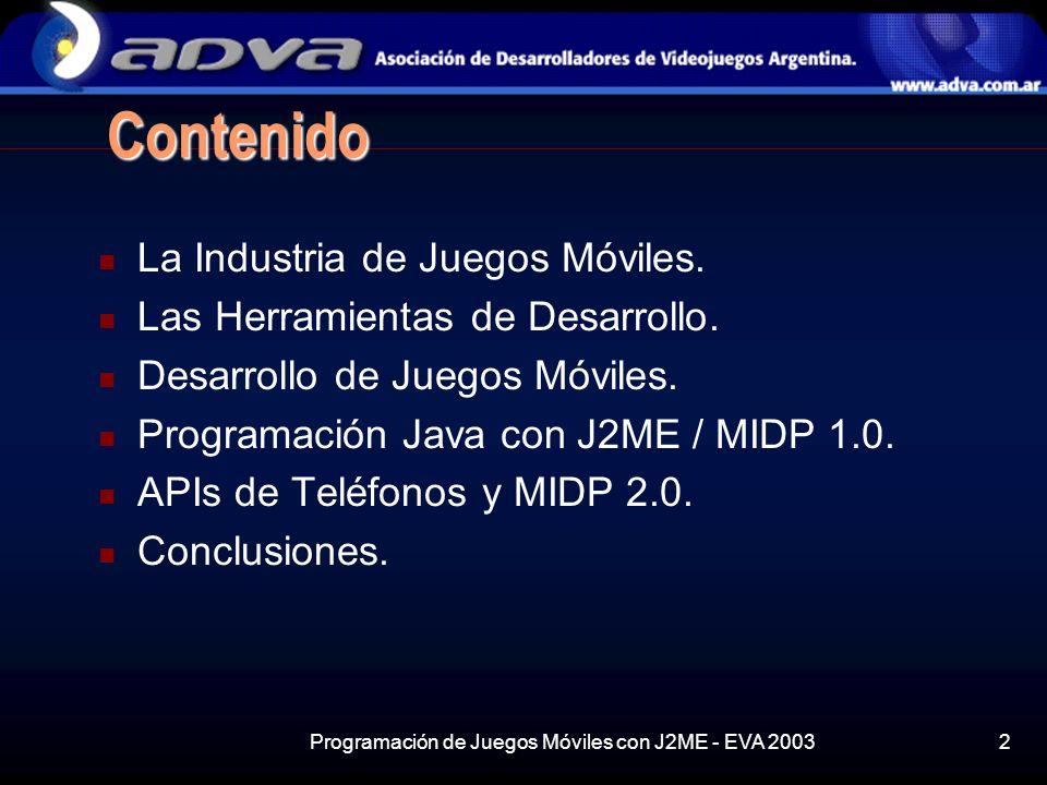 Programación de Juegos Móviles con J2ME - EVA 2003