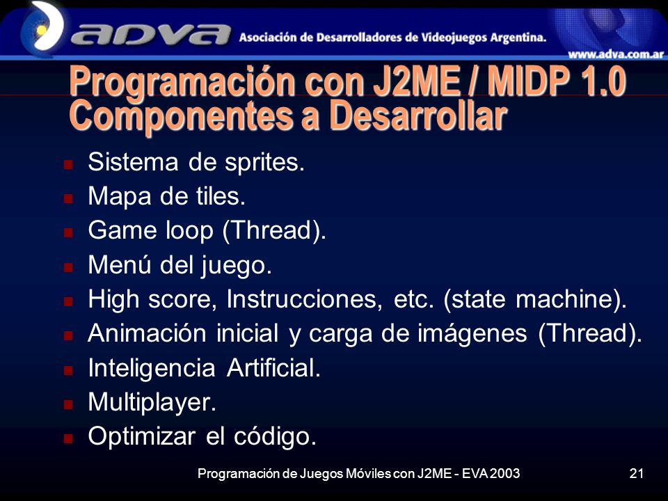 Programación con J2ME / MIDP 1.0 Componentes a Desarrollar