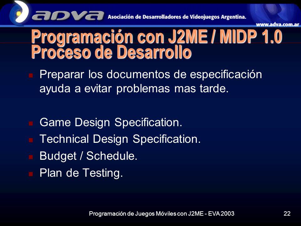 Programación con J2ME / MIDP 1.0 Proceso de Desarrollo