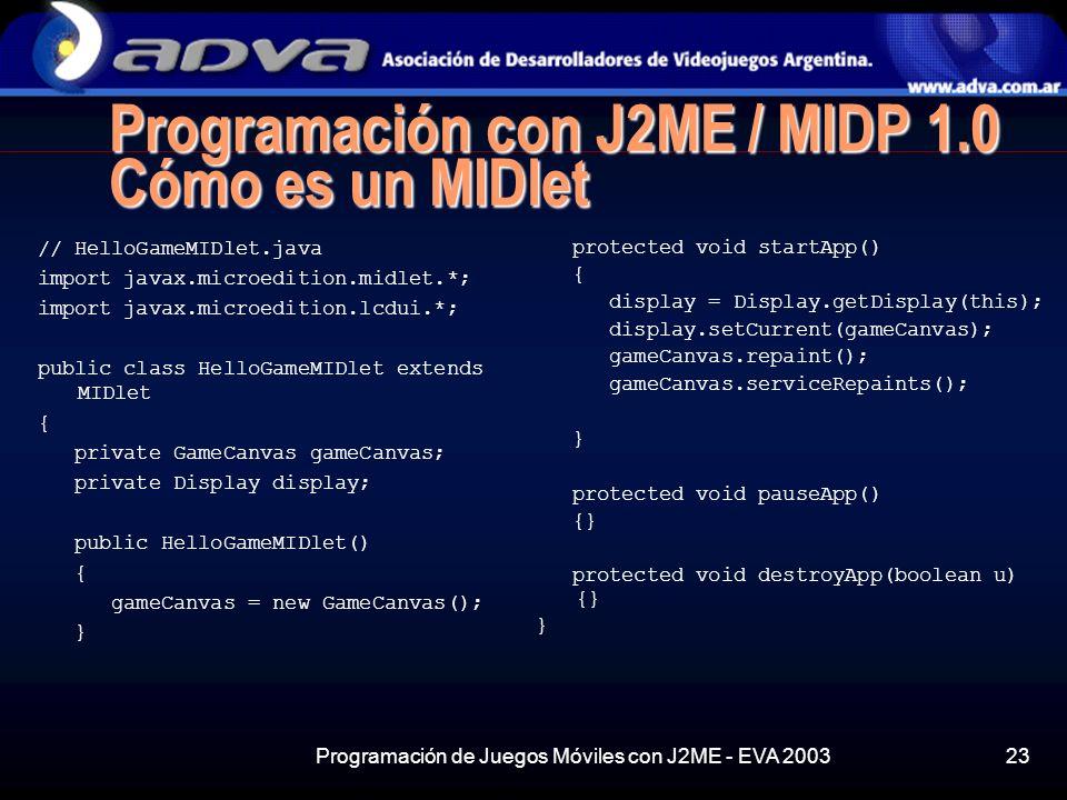 Programación con J2ME / MIDP 1.0 Cómo es un MIDlet