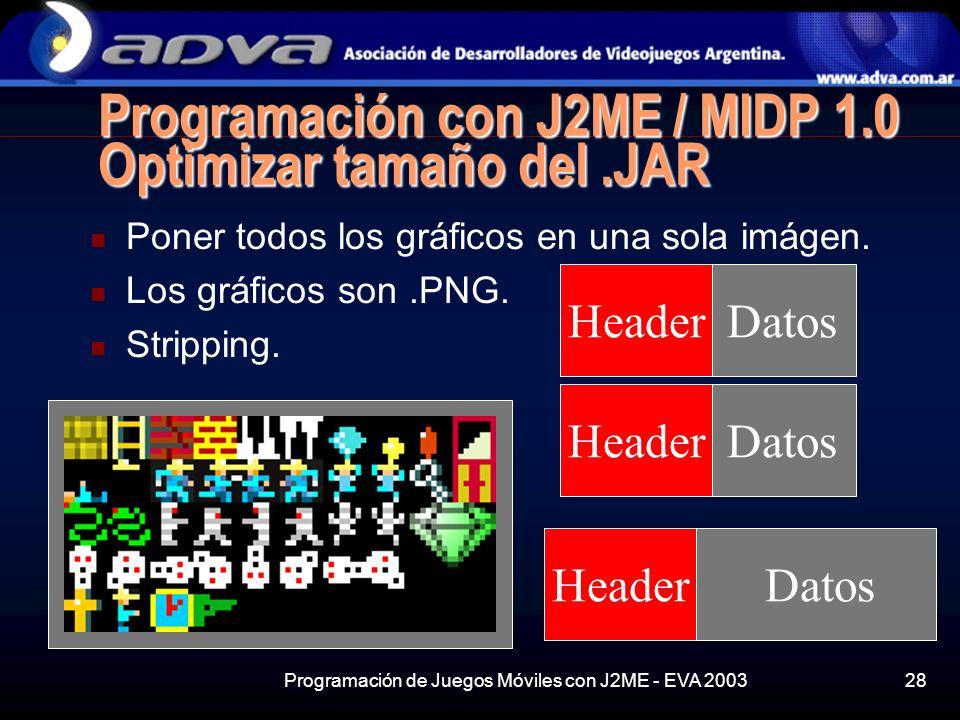 Programación con J2ME / MIDP 1.0 Optimizar tamaño del .JAR