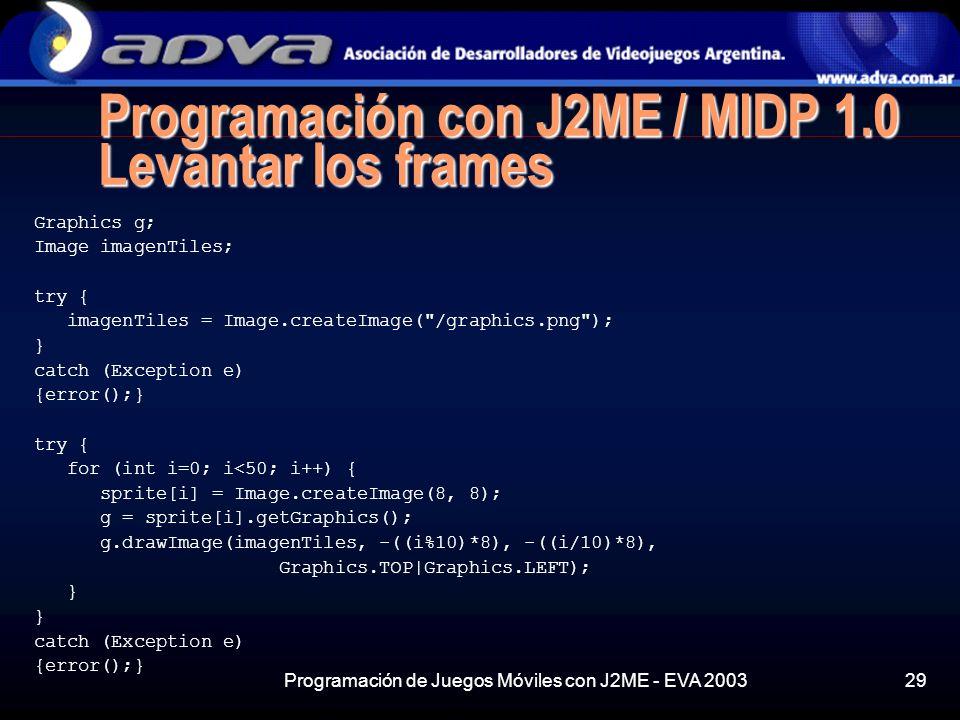 Programación con J2ME / MIDP 1.0 Levantar los frames