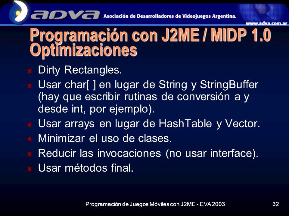 Programación con J2ME / MIDP 1.0 Optimizaciones