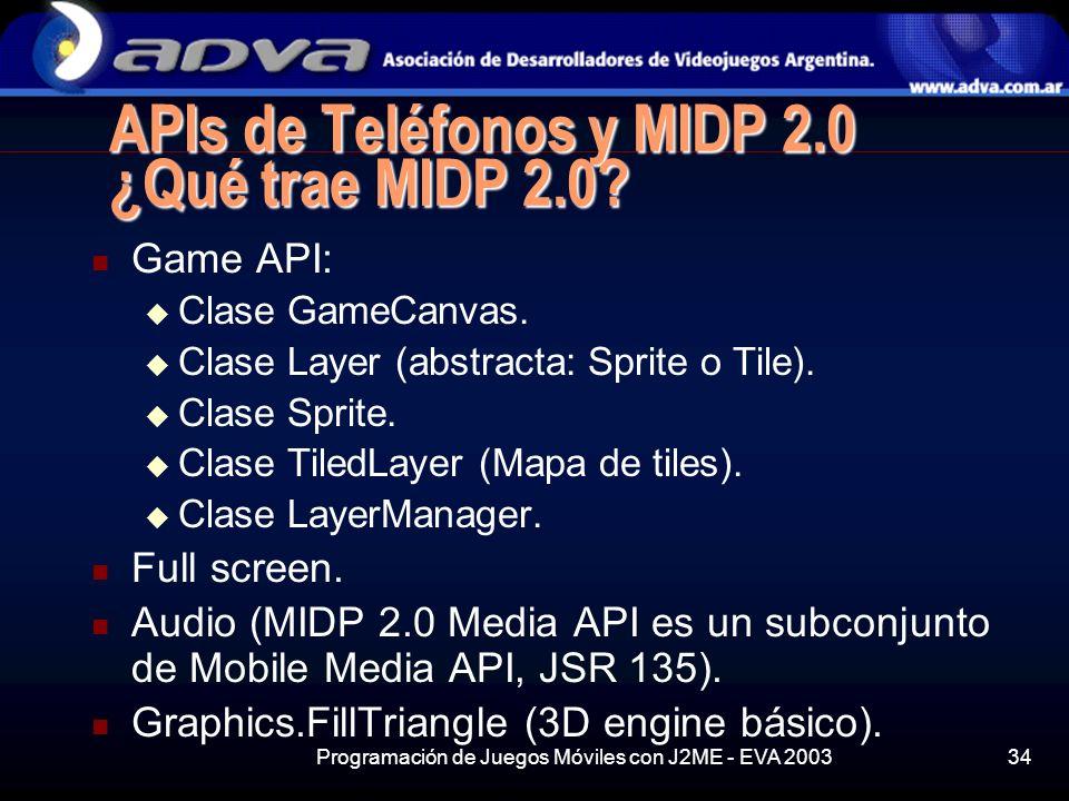 APIs de Teléfonos y MIDP 2.0 ¿Qué trae MIDP 2.0