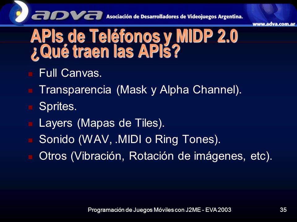APIs de Teléfonos y MIDP 2.0 ¿Qué traen las APIs