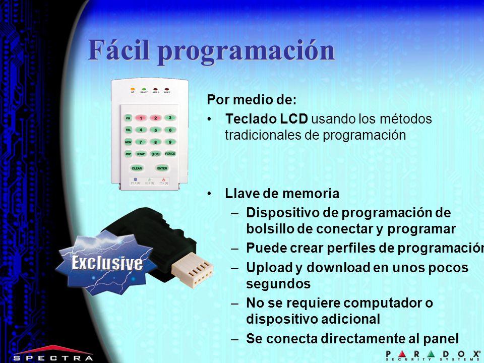 Fácil programación Por medio de: