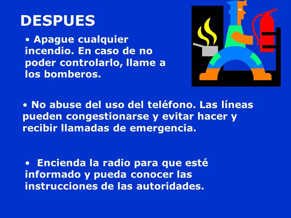 DESPUESApague cualquier incendio. En caso de no poder controlarlo, llame a los bomberos.