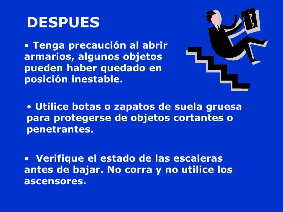 Verifique el estado de las escaleras antes de bajar
