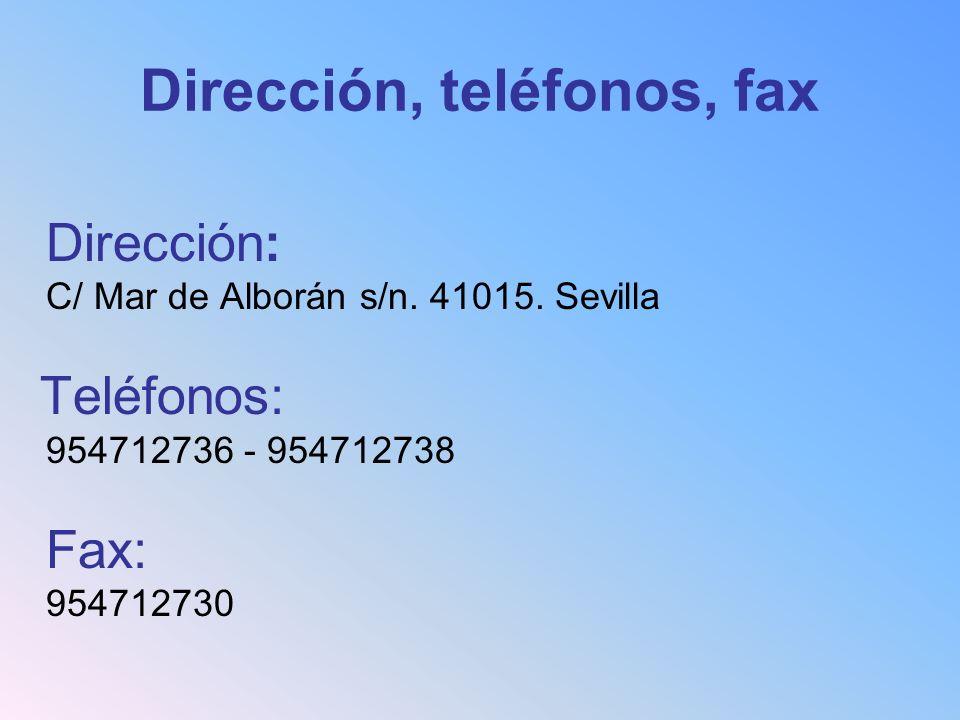 Dirección, teléfonos, fax