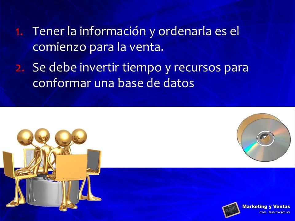 Tener la información y ordenarla es el comienzo para la venta.