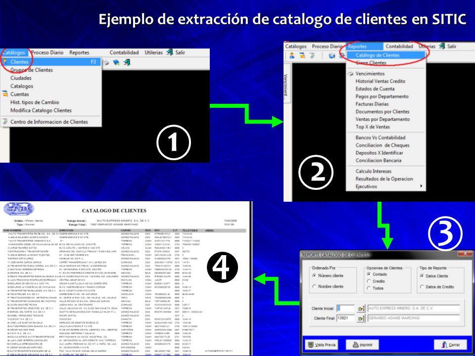 Ejemplo de extracción de catalogo de clientes en SITIC