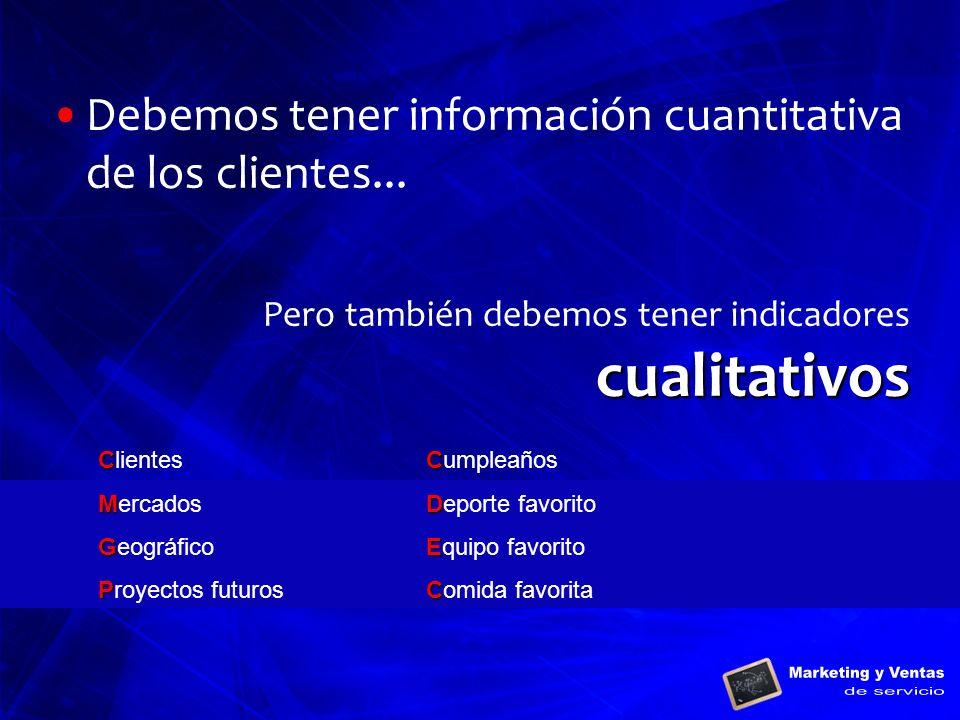 Debemos tener información cuantitativa de los clientes...