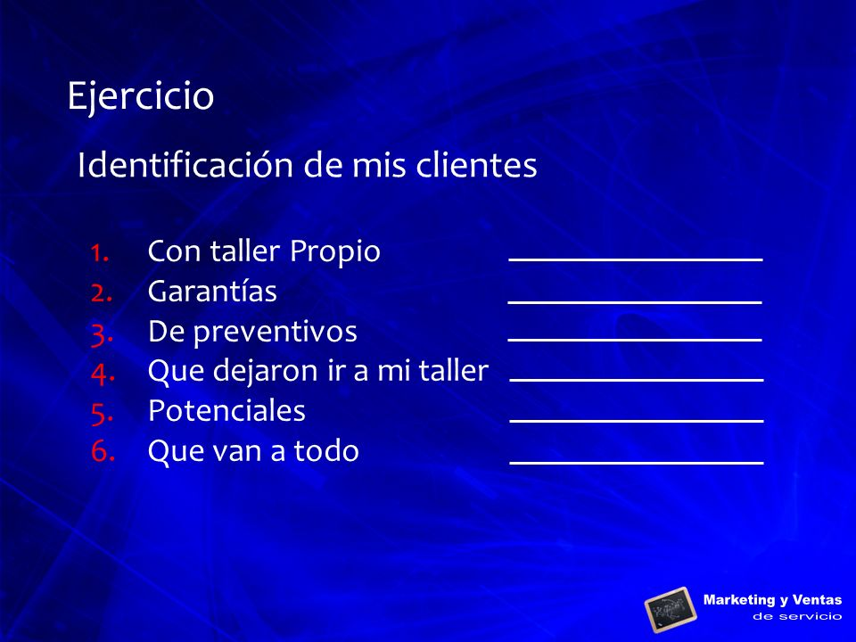 Ejercicio Identificación de mis clientes Con taller Propio Garantías