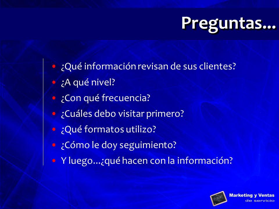 Preguntas... ¿Qué información revisan de sus clientes ¿A qué nivel