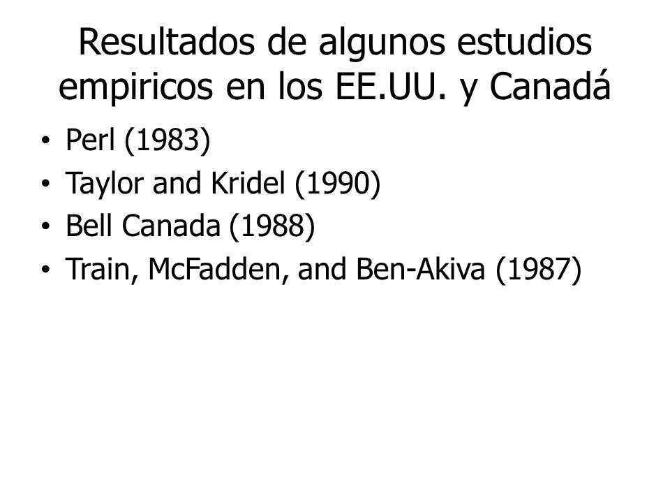 Resultados de algunos estudios empiricos en los EE.UU. y Canadá