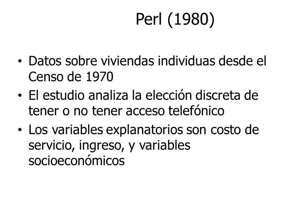 Perl (1980) Datos sobre viviendas individuas desde el Censo de 1970