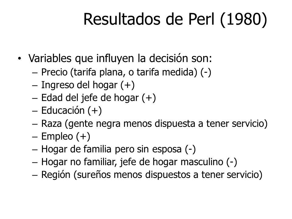 Resultados de Perl (1980) Variables que influyen la decisión son: