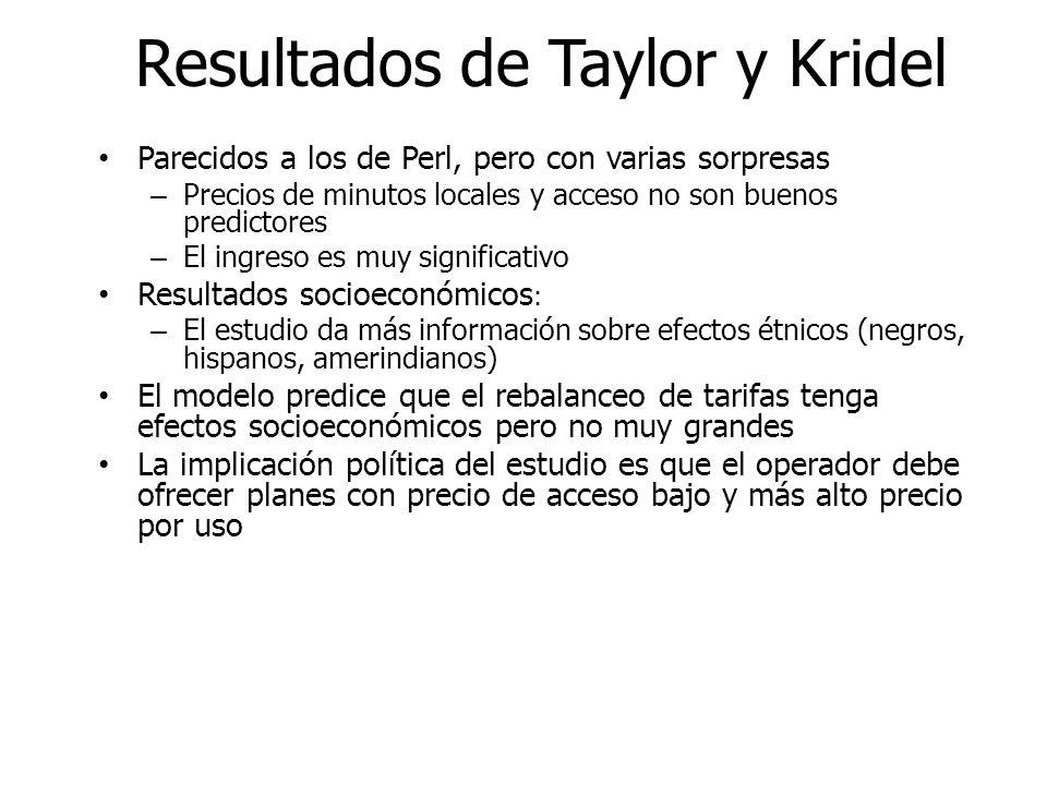Resultados de Taylor y Kridel