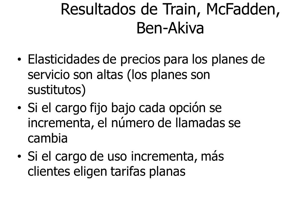 Resultados de Train, McFadden, Ben-Akiva