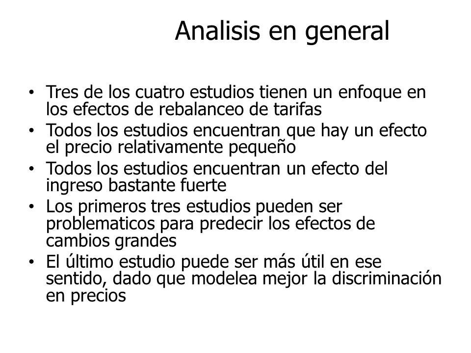 Analisis en general Tres de los cuatro estudios tienen un enfoque en los efectos de rebalanceo de tarifas.