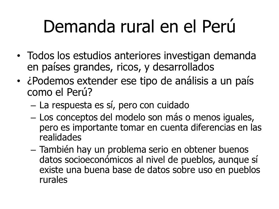 Demanda rural en el Perú