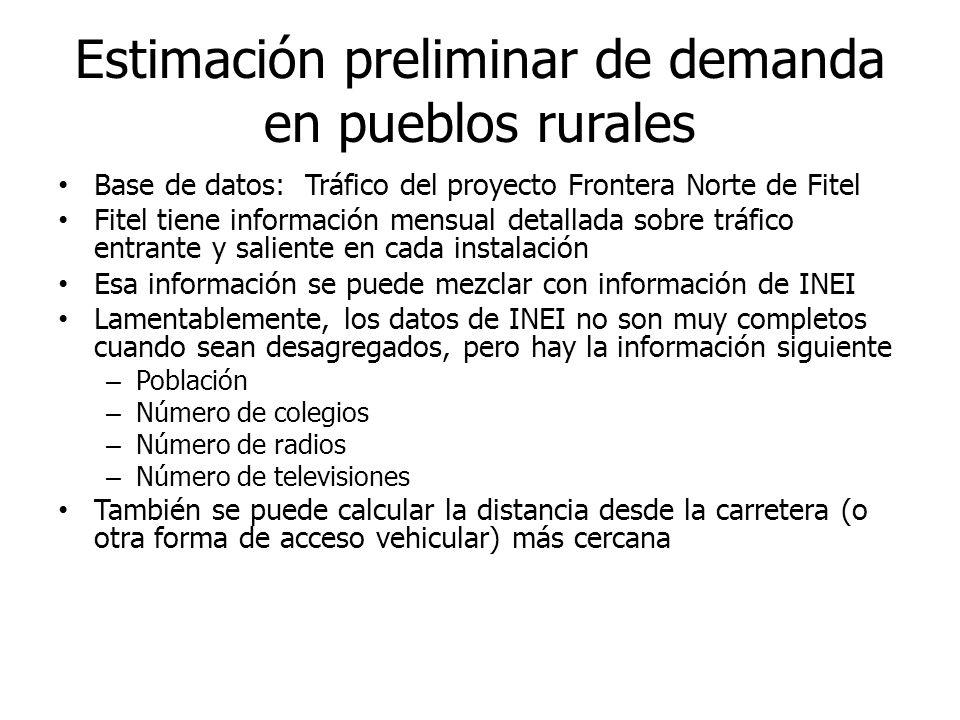 Estimación preliminar de demanda en pueblos rurales