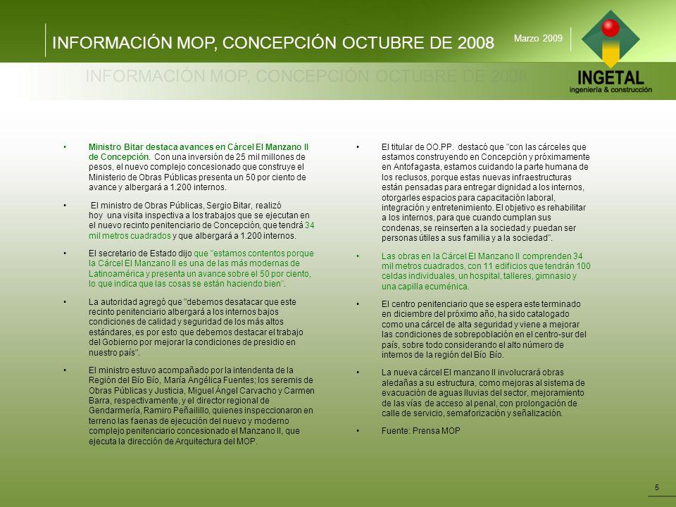 INFORMACIÓN MOP, CONCEPCIÓN OCTUBRE DE 2008