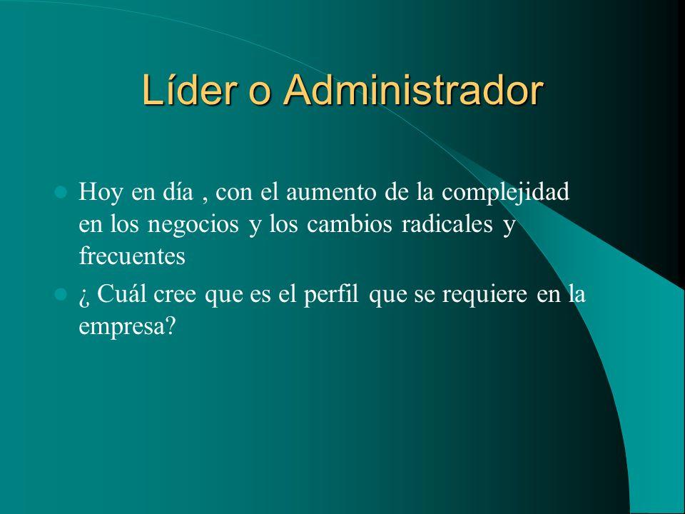 Líder o Administrador Hoy en día , con el aumento de la complejidad en los negocios y los cambios radicales y frecuentes.