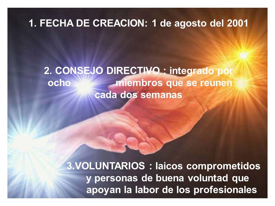 1. FECHA DE CREACION: 1 de agosto del 2001
