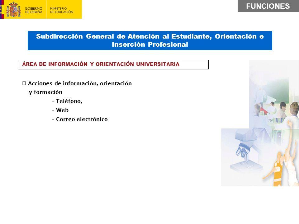 FUNCIONES Subdirección General de Atención al Estudiante, Orientación e Inserción Profesional. ÁREA DE INFORMACIÓN Y ORIENTACIÓN UNIVERSITARIA.