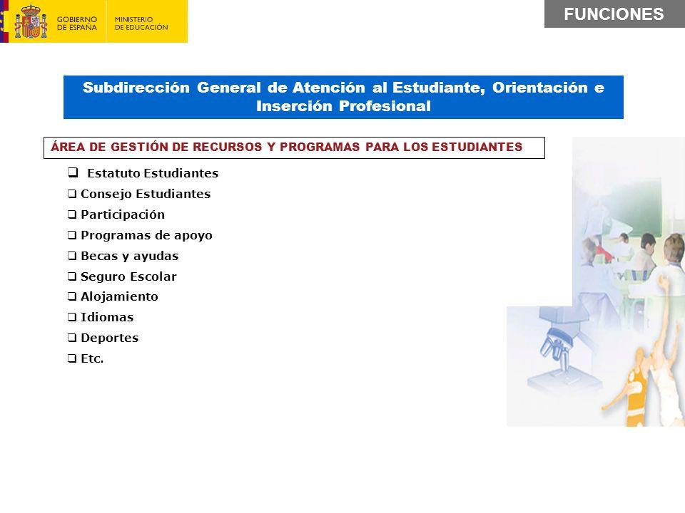 FUNCIONES Subdirección General de Atención al Estudiante, Orientación e Inserción Profesional. Estatuto Estudiantes.
