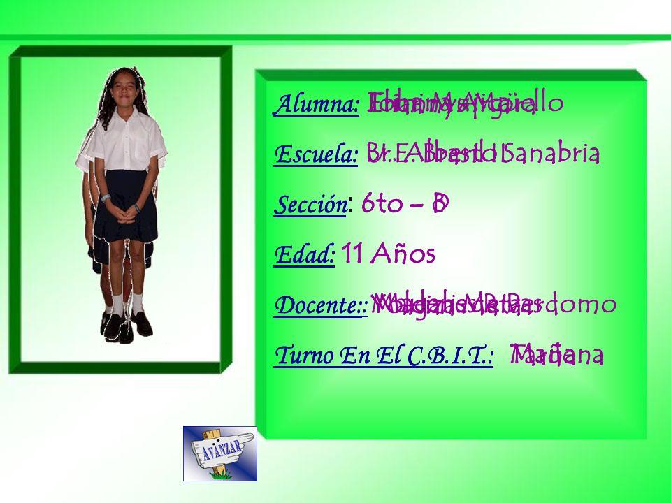 Alumna: Eliannys Mora Escuela: U.E. Brasil II. Sección: 6to – D. Edad: 11 Años. Docente: Yoleiza Mata.