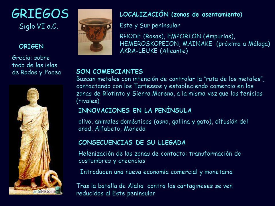 GRIEGOS Siglo VI a.C. LOCALIZACIÓN (zonas de asentamiento)