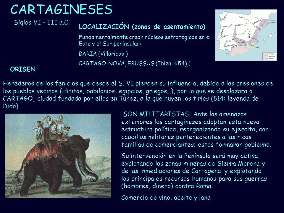 CARTAGINESES Siglos VI - III a.C. LOCALIZACIÓN (zonas de asentamiento)