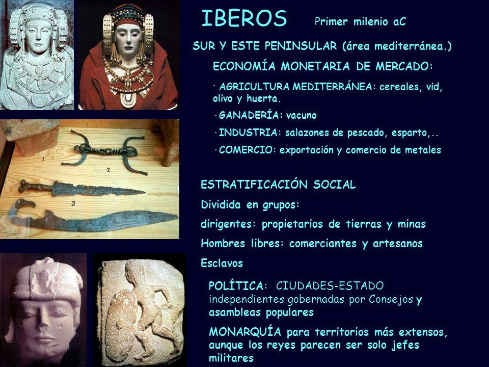 IBEROS Primer milenio aC SUR Y ESTE PENINSULAR (área mediterránea.)