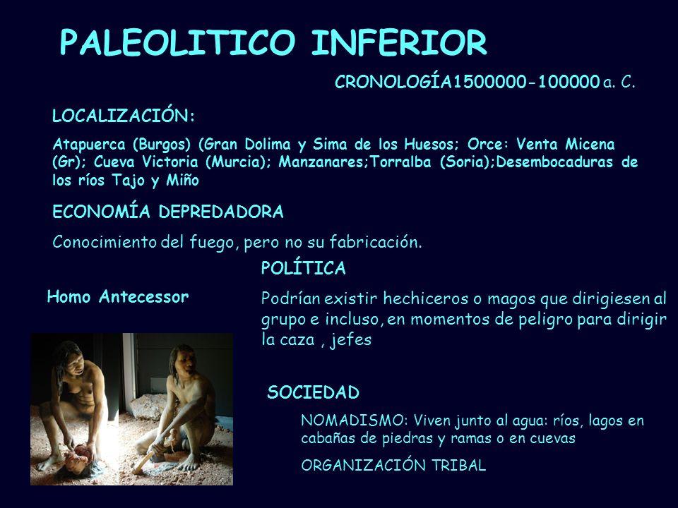 PALEOLITICO INFERIOR CRONOLOGÍA1500000-100000 a. C. LOCALIZACIÓN: