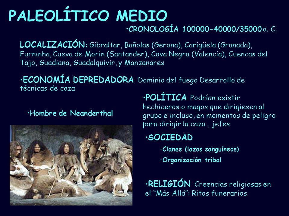 PALEOLÍTICO MEDIO CRONOLOGÍA 100000-40000/35000 a. C.