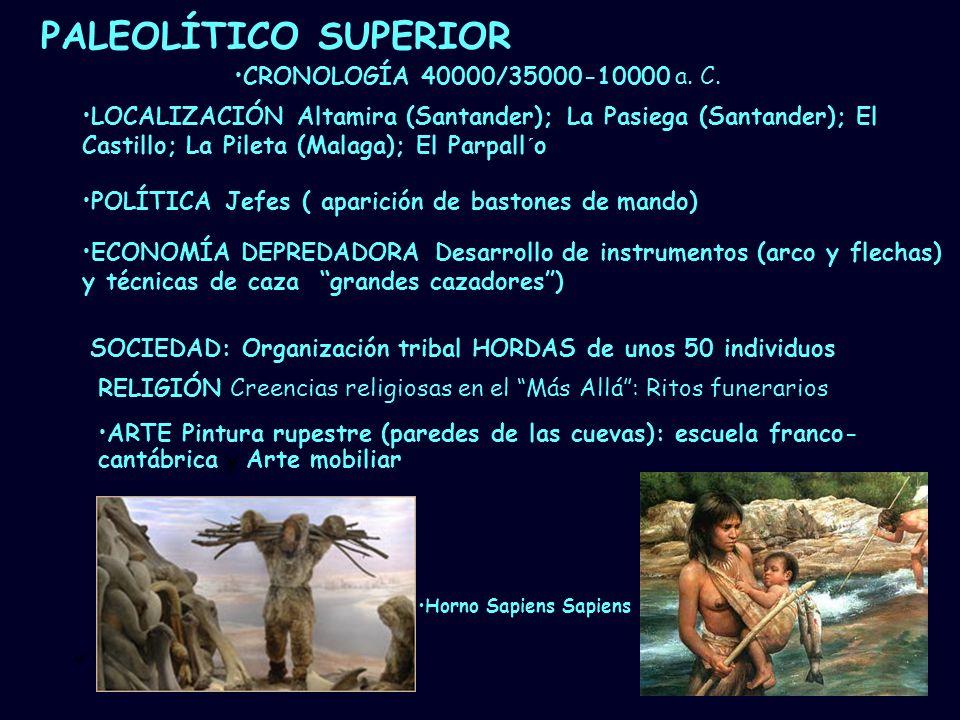 PALEOLÍTICO SUPERIOR CRONOLOGÍA 40000/35000-10000 a. C.