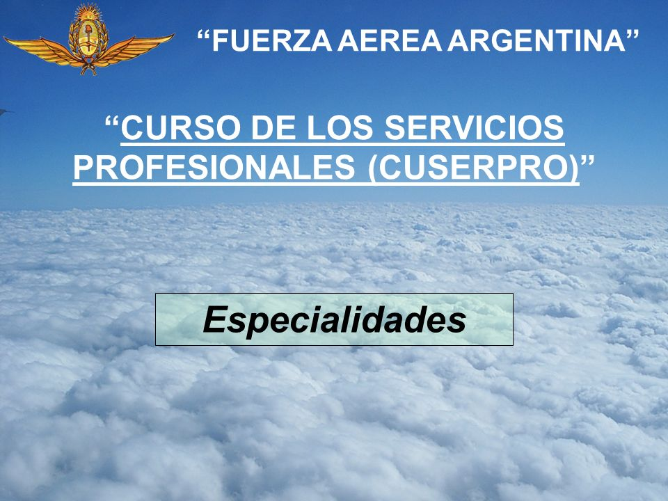 Especialidades CURSO DE LOS SERVICIOS PROFESIONALES (CUSERPRO)