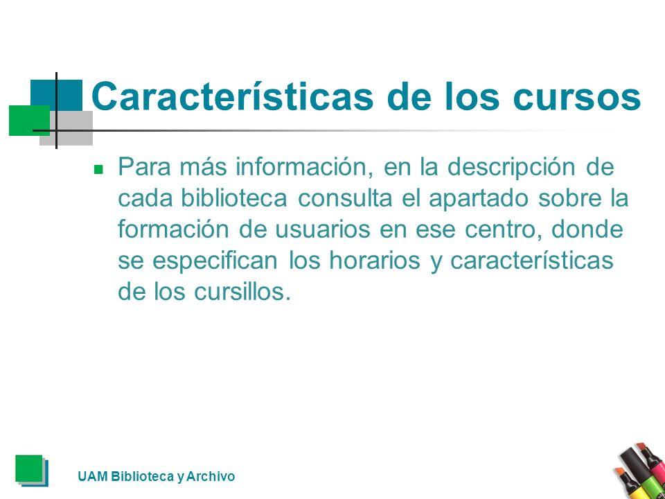 Características de los cursos