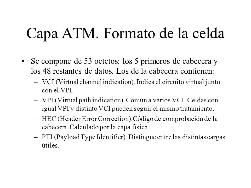 Capa ATM. Formato de la celda